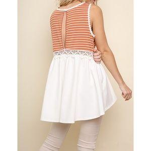 Umgee Tops - Burnt Orange White Striped Crochet Top {Umgee USA}